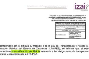 Renocimiento Del IZAI Por El Cumplimiento De Las Obligaciones De Transparencia A La Junta De Monumentos.